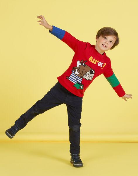 Boy's red dog print T-shirt MOMIXTEE4 / 21W902J2TML505