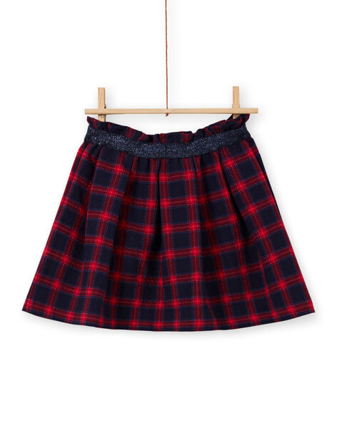 Girl's flared skirt blue and red with tartan print MAMIXJUP1 / 21W901J2JUPC205