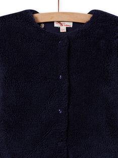 Girl's reversible faux fur night blue cardigan MAJOCARF1 / 21W90114CARC205