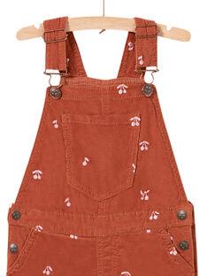 Child girl's short velvet dungarees with cherry print MACOMSAC / 21W901L1SAC420