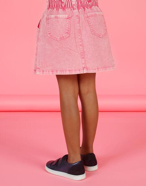 Girl's pink denim skirt MAKAJUP1 / 21W901I1JUPD305