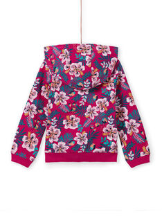 Girl's fuchsia hooded jogging top with floral print MAJOHAUJOG1EX / 21W90115JGHD312