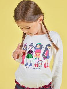 Girl's ecru puffed sleeves T-shirt with reversible sequin print MAMIXTEE4 / 21W901J5TML001