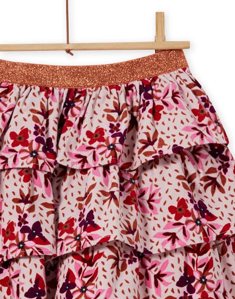 Girl's corduroy ruffled skirt with floral print MACOMJUP2 / 21W901L1JUPD329