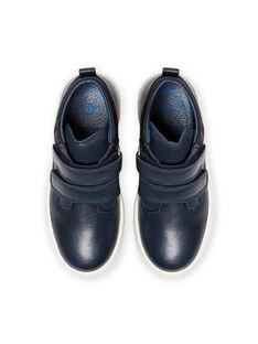 Navy blue high top sneakers child boy MOBASGO / 21XK3654D3F070