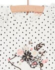 White and navy blue t-shirt with baby girl polka dots LIPOETEE1 / 21SG09Y2TML001