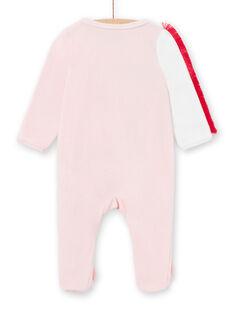 Girl's velvet sleep suit with zebra motifs LEFIGREZEB / 21SH1311GRE321