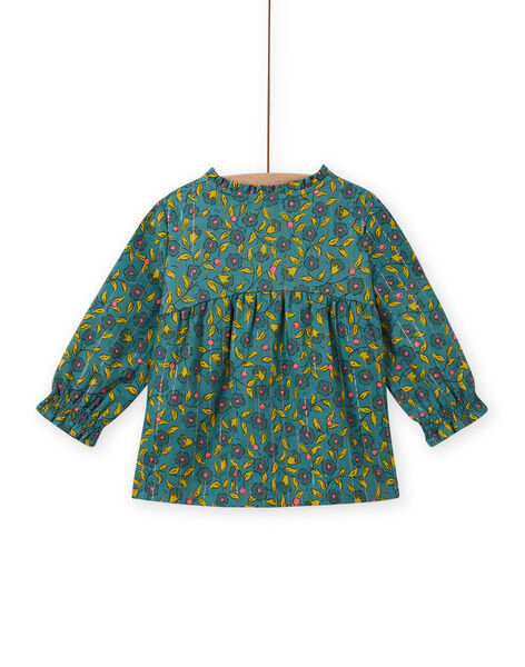 Baby girl's long sleeve blouse with floral and stripes print MIKACHEM / 21WG09I1BLU612