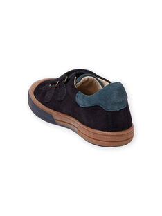 Child boy navy blue and camel suede sneakers MOBASART / 21XK3651D3F070