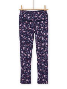 Child girl blue floral print pants MAPLAPANT1 / 21W901O1PANC202