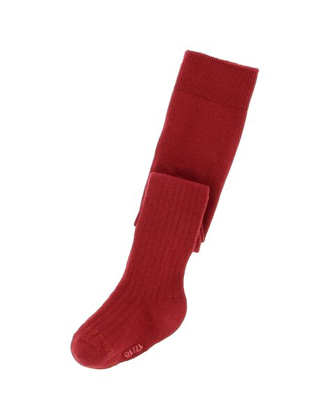 Baby girls' red ribbed tights DYIJOCOL8 / 18WI09J3COL511