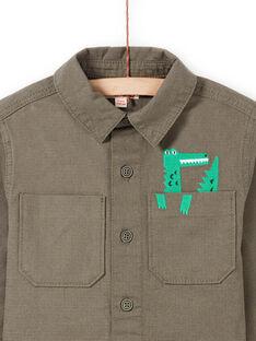 Boy's khaki crocodile print long sleeve overshirt MOKASURCHEM / 21W902I1CHM628
