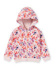 Pink and purple hoodie with parrots and flowers print child girl MAJOHAUJOG3 / 21W90113JGHD314
