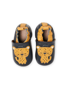Blue leather slippers baby boy tiger MUCHOLEO / 21XK3823D3S070