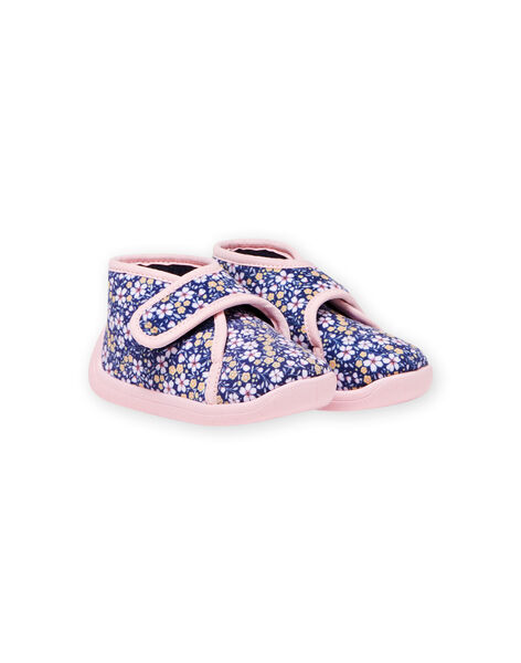 Baby girl's navy blue floral print slippers MIPANTFLOWER / 21XK3721D0A070
