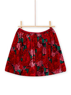 Velvet skirt with flowery print child girl MAFUNJUP2 / 21W901M3JUPH703