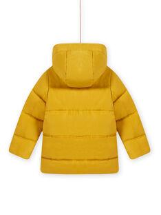 Child Boy's plain yellow hooded down jacket MOGRODOU5 / 21W90263D3E106