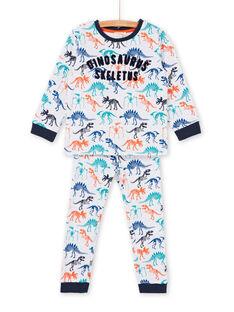 White and navy blue dinosaur print boy's pajama t-shirt and pants LEGOPYJSKE / 21SH125APYJJ920
