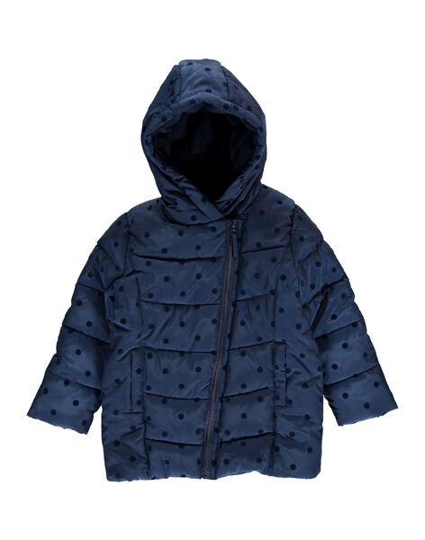 Girls' navy blue hooded padded jacket DALONDOU3 / 18W901E3D3E070