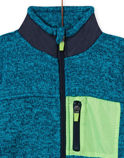 Boy's mottled turquoise vest with fluorescent green and navy blue panels MOJOGITEK1 / 21W90212GILC200
