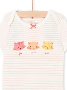 Pink and white striped bodysuit LEFIBODCHA / 21SH1322BDL001