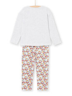Pyjama T-shirt and pants in mottled gray and yellow child girl LEFAPYJOWL / 21SH1152PYJJ920