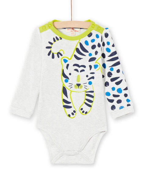 Baby boy's ecru and green bodysuit MUKABOD / 21WG10I1BOD006