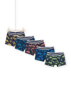 Boy's 5 Skeleton Boxer Shorts with Dinosaur Print MEGOBOXSEM1 / 21WH12B5BOX705