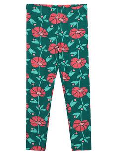 Girls' floral print leggings GYAVELEG / 19WI0121CALG627