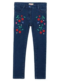 Girls' embroidered slim jeans FACOJEAN / 19S90181JEAK005