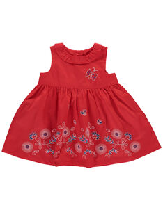 Baby girls' embroidered red dress FITOROB3 / 19SG09L3ROB330