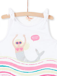 White tank top with mermaid and waves design for girl LABONDEB2 / 21S901W2DEB000