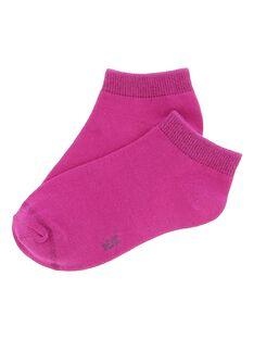 Girls' fuchsia ankle socks CYAJOCHO10B / 18SI01S8SOQ304