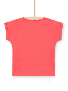 Girl's red short sleeve t-shirt LAHATI1 / 21S901X1TMCF506