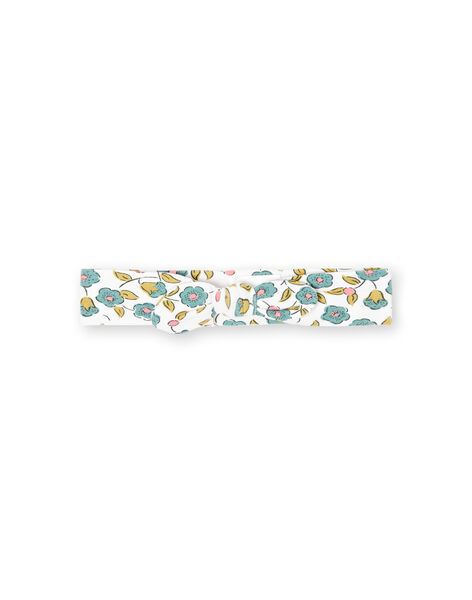 Baby girl's ecru headband with flower print MYIKABAN / 21WI09I1BAN001
