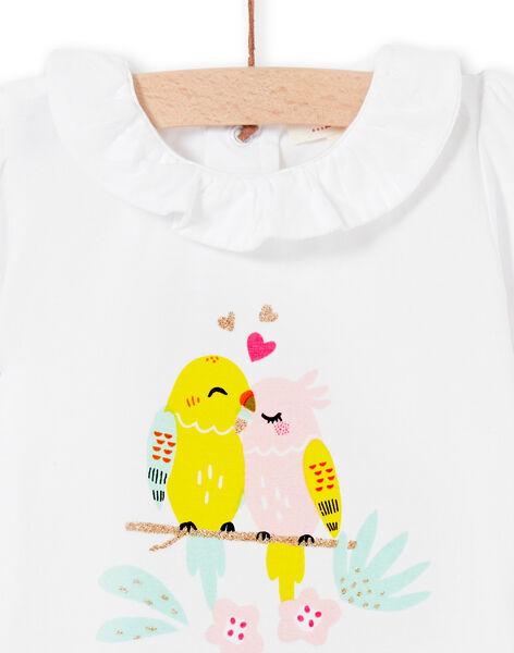 Baby girl white bodysuit LIBALBOD / 21SG09O1BOD000