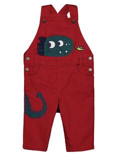 Baby boys' red printed dungarees GUVESAL / 19WG1021SALF508