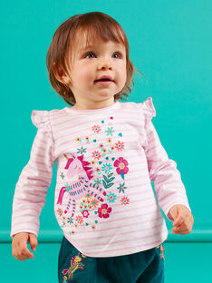 Baby girl lilac striped long sleeve t-shirt with unicorn design MITUTEE1 / 21WG09K1TMLH700