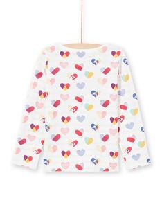 Girl's reversible ecru and red T-shirt MAMIXTEE2 / 21W901J4TML001