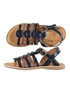 Girls' smart sandals in two fabrics FFSANDMEL / 19SK35K1D0E070