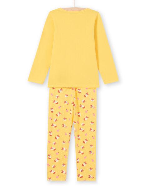 Girl's yellow and orange pajama set T-shirt and pants MEFAPYJFOX / 21WH1174PYG010