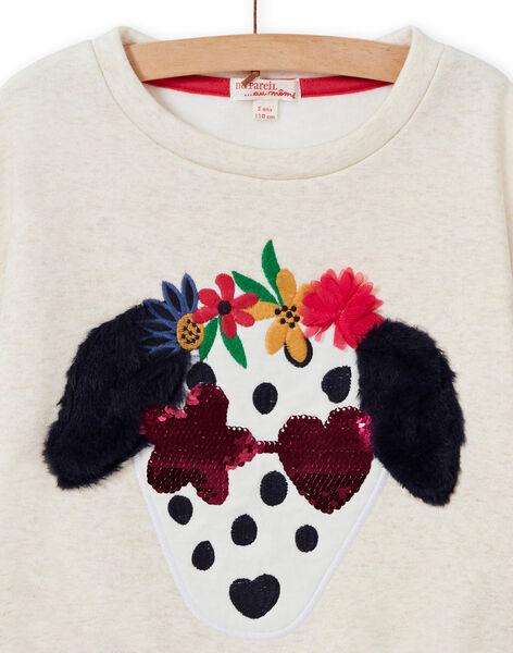 Girl's ecru dog sweatshirt MAMIXSWEA / 21W901J1SWE006