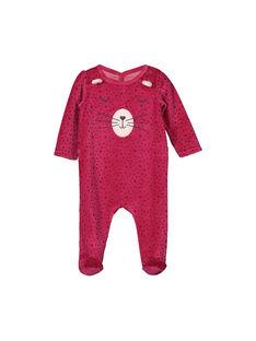 Girls' velour sleepsuit FEFIGRELAP / 19SH1341GRE099