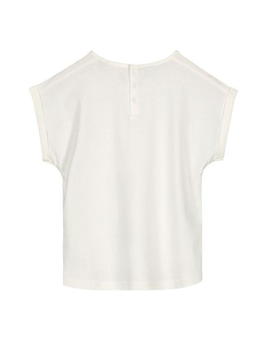 Girls' ecru printed T-shirt GABLETI2 / 19W90192TMC001
