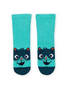 Baby Boy's Turquoise Raccoon Socks MYUJOCHOB4 / 21WI1013SOQ209