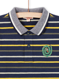Boy's long-sleeved polo shirt in night blue stripes MOKAPOL / 21W902I1POL705