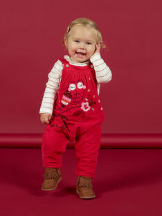 Baby girl vintage pink dungarees with owl and flower motifs MIFUNSAL / 21WG09M1SALD332