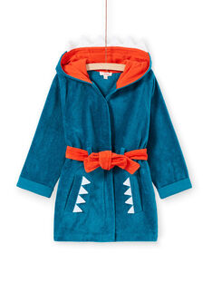 Turquoise terry towel boy's dressing gown with shark pattern LEGOPEIREQ / 21SH1251RDCC217