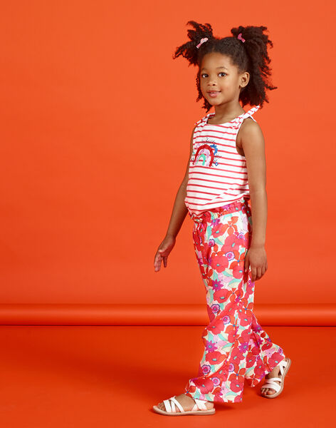 Orange and green fluid pants with floral print LAVIPANT / 21S901U1PAN000