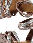 Girls' smart metallic plaited leather sandals FFSANDROX / 19SK35C2D0E956